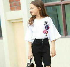 2016 Summer Teenage Baby Girls Clothing Mandarin Flare Sleeves T shirts for Kids Age 5 6 7 8 9 10 11 12 13 Years Old Clothes-in Tees from Mother Girls Summer Outfits, Cute Girl Outfits, Cute Outfits For Kids, Outfits For Teens, Trendy Outfits, Girls Dresses, Trendy Dresses, Tween Fashion, Little Girl Fashion