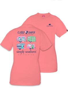 Strawberry pink Simply Southern tshirt with happy camper on the back.