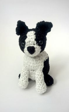 This adorable crochet Boston Terrier is waiting to be adopted and carried everywhere with you. This cute little puppy makes a wonderful best friend for children, adults and dog lovers. - Crocheted usi