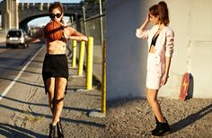 Left: Versace Zipped Sport Top, Shape Up Skirt, Moonwalk Platform, Maddy Shades, Right: Chanel Micro Mini Suit, Serge Bra, Hilight Wedge Sneaker