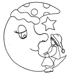 Grandfather of the Moon - Malen Applique Designs, Machine Embroidery Designs, Embroidery Applique, Embroidery Patterns, Pach Aplique, Line Doodles, Sewing Appliques, Moon Art, Illustrations And Posters