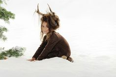 www.frostedproductions.com |  #utah #editorial #photographer #studio #photography #beautiful #child #model #snow #winter #pine #tree #cute #brown #dress #for #little #girls #antlers #unique #hair #ideas