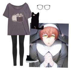 """707 inspired outfit (Mystic Messenger)"" by shadow-ninja-jr ❤ liked on Polyvore featuring Topshop, Pusheen, Converse and Linda Farrow"