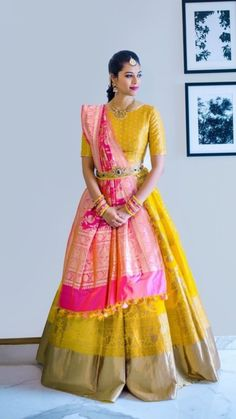 Buy Latest Trends Haldi Yellow Pink Banarasi Lehenga Choli online @ Trendylehenga Couture Buy Online Designer Collection, :Call/ WhatsApp us 77164 . Indian Lehenga, Banarasi Lehenga, Half Saree Lehenga, Lehnga Dress, Ghagra Choli, Hijab Dress, Lehenga Choli With Price, Kids Lehenga Choli, Lehenga Blouse