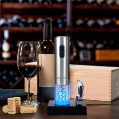 electric wine opener, automatic electric wine bottle, corkscrew opner, foil cutter Electric Wine Bottle Opener, Blue Led Lights, Night Lights, Bottle Sizes, Wine Fridge, Bottle Crafts, Easy To Use, Can Opener, Shopping
