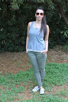 Gray Tank Top + Green Skinnies + Striped Sneakers  #outfit #summer #casual