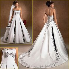 a lines white with black beaded dress | Ancient a-Line White Black Navy Blue Color Accent Bridal Wedding Dress ...