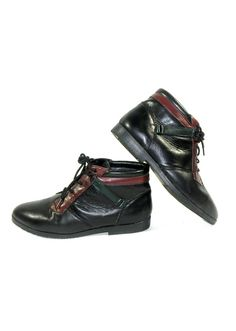 Black Leather Danexx Granny Lace Up Ankle by PacificWonderland, $40.00