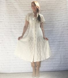 Vintage 90s Sheer Lace Angel Flutter Sleeve Midi Dress Cream Beige Lace-Up Back S M by PopFizzVintage on Etsy