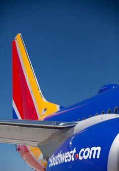 The bold colors of Southwest Airlines on a beautiful plane tail ready for the next big adventure. #SouthwestHeart