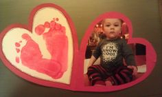 Valentines Day card: baby footprints and photo. Sew footprints onto the cardstock for a nice effect.