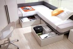 Corner Twin Beds With Table Layout Full Size In Shared Storage Plan 14 Corner Twin Beds, Bed In Corner, Bedroom Bed, Girls Bedroom, Bedroom Furniture, Bedrooms, Room Deco, Bed Storage, Storage Drawers