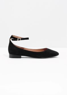 & Other Stories | Ankle Strap Suede Ballerinas