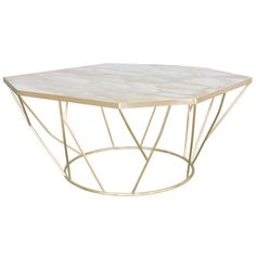 Facet Sculptural Cocktail Table in Satin Bronze with Inset Honed Marble Top.