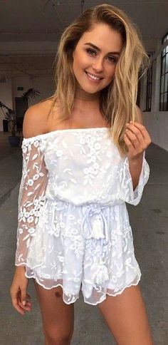 bdac996460d5 #summer #tigermist #outfits | White Lace Playsuit Lace Jumpsuit, White Lace  Playsuit