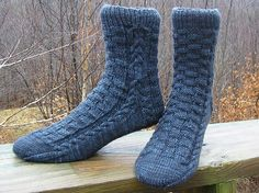 Ravelry: Past the Wit of Man pattern by Claire Ellen...very substantial socks...