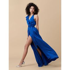 DVF Floor-length Asymmetric Ruffle Wrap Dress ($548) ❤ liked on Polyvore featuring dresses, gowns, french blue, blue ball gown, satin evening gown, wrap dress, sleeveless dress and blue wrap dress
