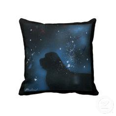 Newfoundland dog painting throw pillows