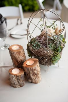 Deanna Moore Design- wire baskets + succulents + spanish moss- wedding centerpiece