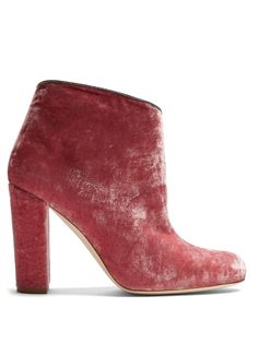 GABRIELLE'S AMAZING FANTASY CLOSET   Malone Souliers Rose Velvet Ankle-Boot