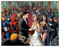 superhero wedding I love how he's Marvel and she's DC Marvel Wedding, Comic Book Wedding, Batman Wedding, Geek Wedding, Wedding 2017, Wedding Pics, Wedding Themes, Dream Wedding, Wedding Day