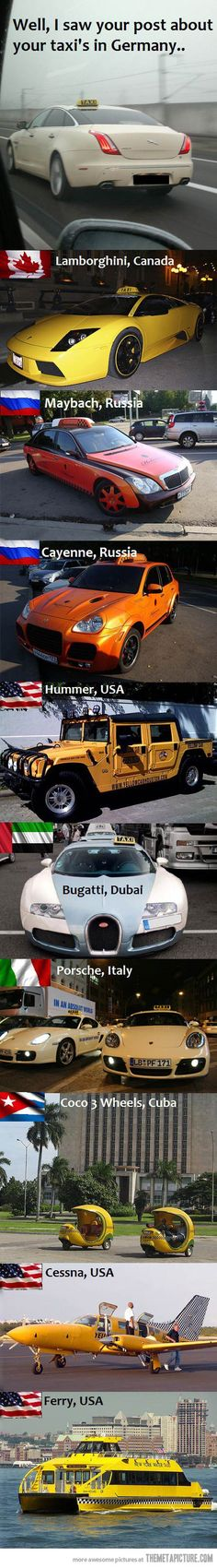 Taxis around the world… I would like to go to Canada!