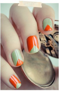 Milky mint and orange triangles. Summer nails