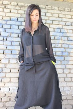 FREE SHIPPING Black Chiffon Top / Summer Loose Shirt / by Fraktura