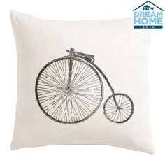 Block Printed Antique Bicycle Pillow - Ethan Allen US