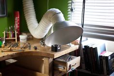 flexible exhaust ductwork for maker labs Workshop Studio, Studio Setup, Creative Workshop, Studio Ideas, Jewelry Studio Space, Jewelers Workbench, Maker Labs, Jewellers Bench, Garage Studio