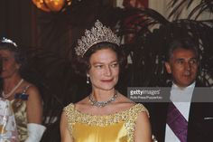 Princess Josephine Charlotte of Belgium, consort of Jean, Grand Duke of Luxembourg pictured wearing a jewelled tiara and necklace at a formal evening function in 1967. (Photo by Rolls Press/Popperfoto/Getty Images)