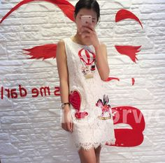 Fashion 2017 spring summer women cartoon horse embroidery balloon eyelash lace sleeveless dress familly fitted new arrival 5xl