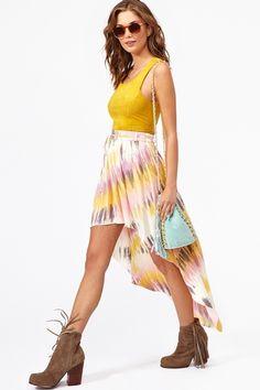 printed high waisted skirt