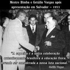 Mestre Bimba sendo recebido pelo Presidente Getúlio Vargas 1953