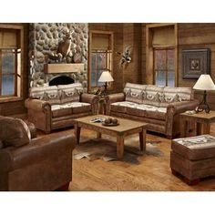 American Furniture Classics Alpine Lodge 4 Piece Living Room Set with Sleeper Sofa Rustic Living Room, Cabin Living Room, Furniture, Room Set, 4 Piece Living Room Set, Living Room Sets Furniture, Sofa Set, American Furniture, Cabin Living