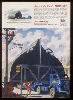 1944 Autocar 105' semi truck trailer art vintage ad