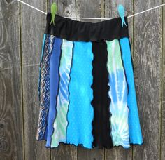 upcycled tshirt skirt | Recycled Upcycled T-Shirt Skirt Blues Turquoise Tie Dye Comfortable ...