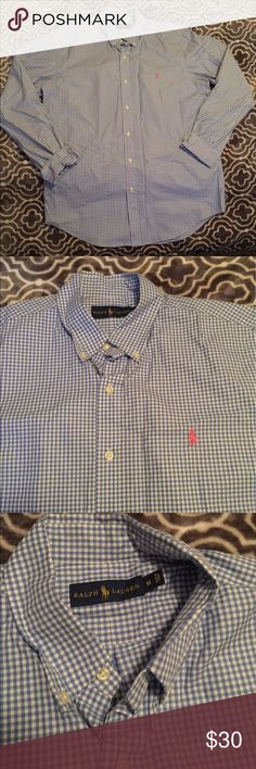 ✨ Polo Ralph Lauren Plaid Button Up ✨ Blue plaid with pink pony Polo Ralph Lauren long sleeve button up. NWOT no flaws. Size medium. Light and airy great for summertime, or really anytime of the year. Check my closet for other deals! Polo by Ralph Lauren Shirts Dress Shirts