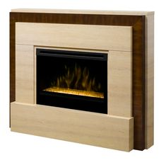 The 63.75″ Dimplex Gibraltar Travertine Glass Electric Fireplace. The contemporary travertine-like mantel is softened with a slight infusion of wood trim to enhance the visual mass of the stone surround. The Gibraltar features a new slim design which makes it suitable for any size room and its flat side design allows baseboard trim to fit flush against cabinet.