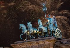 Spectacular: The night sky above the Brandenburger Tor in Berlin, Germany is lit up in a d...
