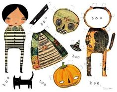 Original PAPER DOLL Halloween Collage Illustration by by DanitaArt