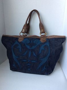 Lucky Brand Blue Denim Chic Lg Hobo Tote Shoulder bag Leather Strap Cotton GUC #LuckyBrand #TotesShoppers