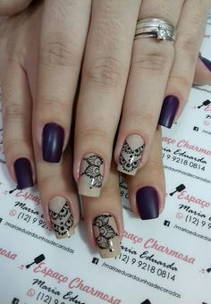 Uñas Oval Nails, Matte Nails, My Nails, Henna Nails, Mandala Nails, Queen Nails, Girls Nails, Easy Nail Art, Nail Stamping