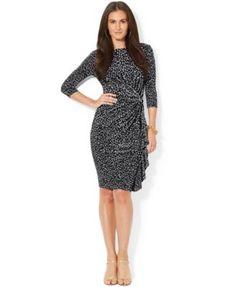 1badca5da1be Lauren Ralph Lauren Ruffled Three-Quarter-Sleeve Dress & Reviews - Dresses  - Women - Macy's