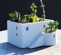 Greek House House Planter, Holiday Gift, 3D printed, Miniature, Cute, Office Decor, Home Decor, Succulent,Flower Pot, Father's Day gifts
