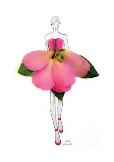 """""""made of real flower"""" Fashion Illustrations With Real Flower Petals As Clothing"""