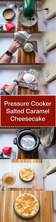 Pressure Cooker Salted Caramel Cheesecake recipe. Sweet salted caramel drizzled on top of a smooth, easy pressure cooker cheesecake. via @DadCooksDinner
