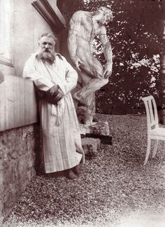 French sculptor Auguste Rodin - in the garden of his villa at Meudon, near Paris. Behind him is the original plaster statue of The Creation of Man. Edward Gooch, circa www. Auguste Rodin, Camille Claudel, Modern Sculpture, Sculpture Art, Sculpture Garden, Metal Sculptures, Abstract Sculpture, Bronze Sculpture, Famous Artists