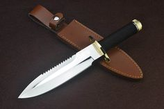 Mirror Finish Sawback Fixed Blade Survival Knife With Leather Sheath 4775