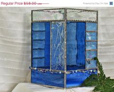 ON SALE OOAK Large stained glass candle box blue by ClearerImage, $52.20